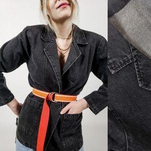 Black denim jacket small medium vintage button